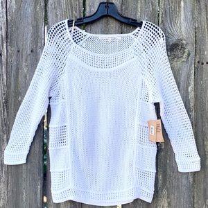 Rachel Roy Medium Sweater White Thin Knit New